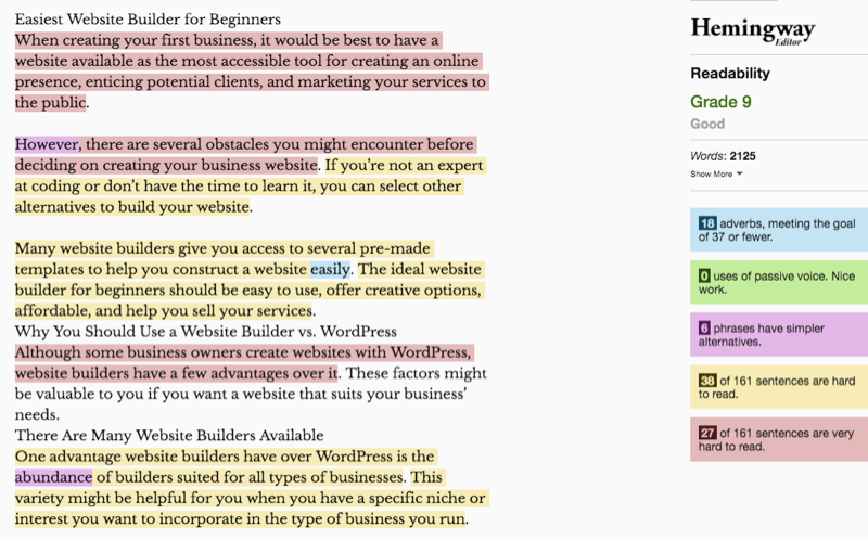 Hard to read sentences are highlighted in red on Hemingway